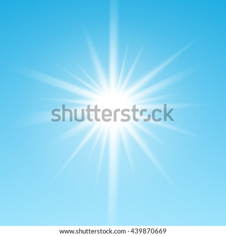 White glowing light burst sun on blue sky background. Vector illustration for cool effect decoration with ray sparkles. Bright star. Transparent shine gradient glitter, bright flare. Glare texture. - stock vector