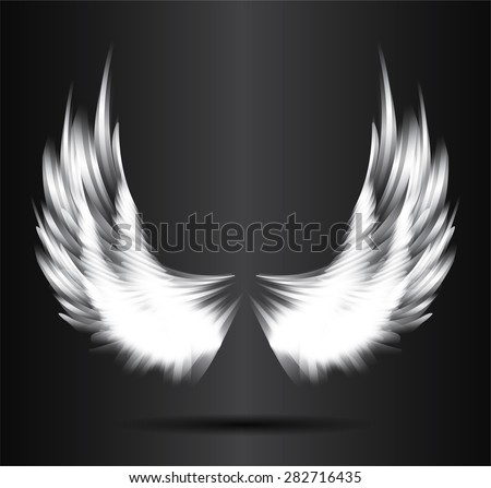 white glowing, stylized angel wings on a black background. vector - stock vector