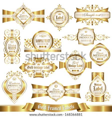 White gold-framed labels set 4 - stock vector