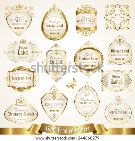 White gold-framed labels set 6 - stock vector