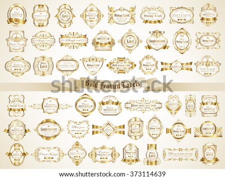 White gold framed labels - vintage style - stock vector