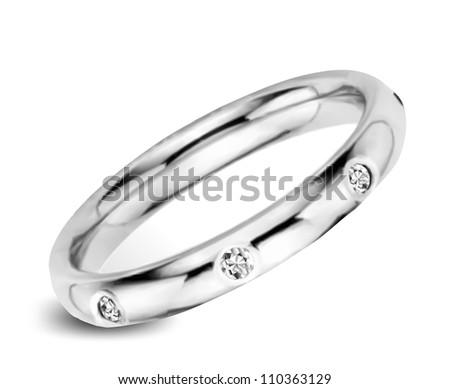 White golden ring with diamonds. Vector - stock vector