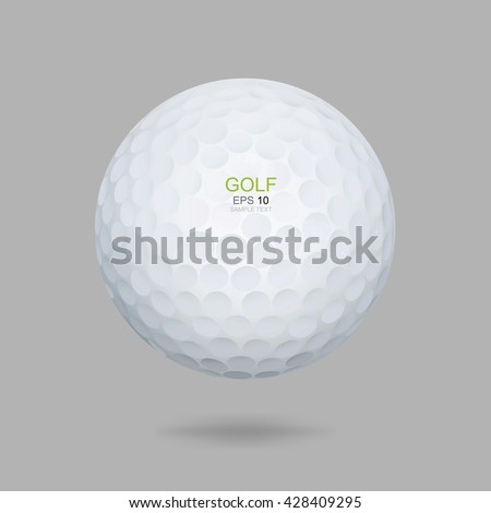 White golf ball on gray background. Vector graphic design for golf sport. - stock vector