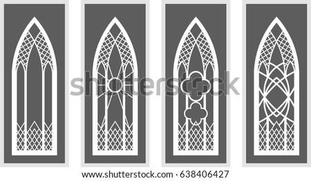 White Gothic Window Isolated On Gray Background