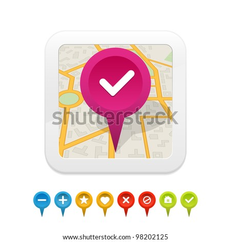 White gps navigator icon with labels. Vector illustration. - stock vector