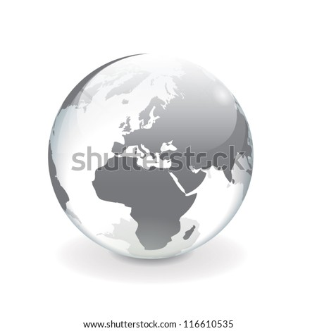 White gray transparent vector globe of Europe - stock vector