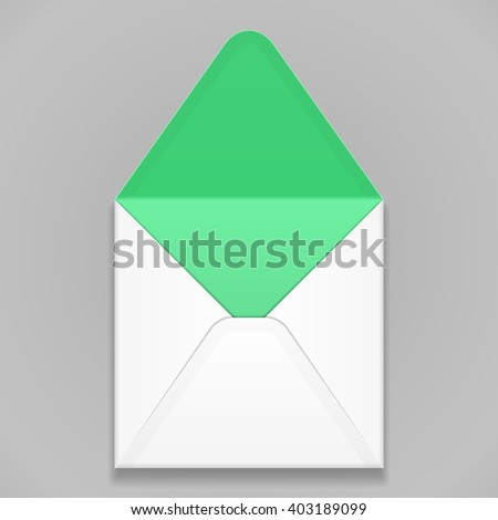 White Green Blank Envelope. Illustration Isolated On Gray Background. Mock Up Template Ready For Your Design. Vector EPS10 - stock vector