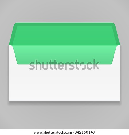 White Green Blank Envelope. Illustration Mock Up Template Ready For Your Design. Vector EPS10 - stock vector