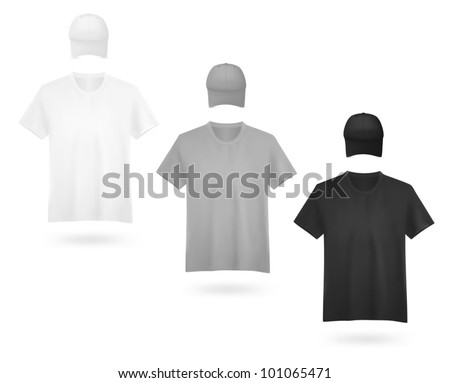White, grey and black men's t-shirt template.