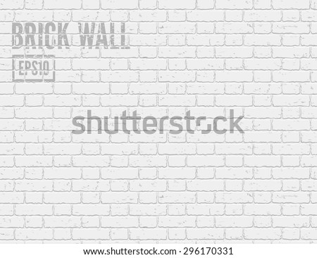 White grunge brick wall. Vector illustration - stock vector