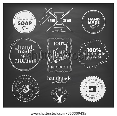 White Hand and Home Made Design Elements on Blackboard - stock vector