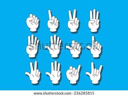 White hand notation about number on the blue background. - stock vector