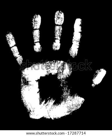 White Hand print on black fully editable vector illustration - stock vector