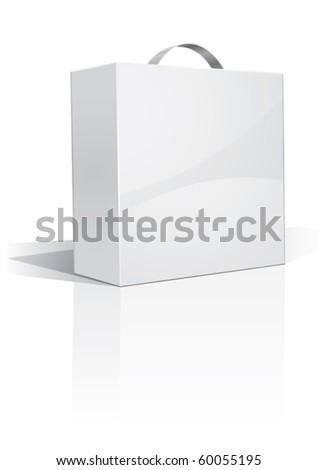 white handy box, your own design, vector - stock vector