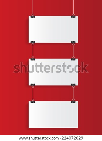 white hanging on red background - stock vector