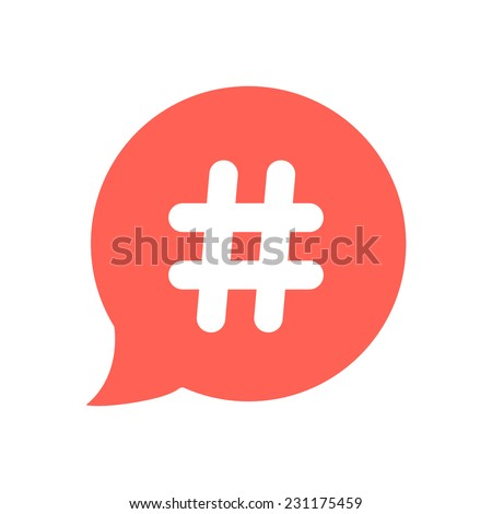 white hashtag icon in red speech bubble. concept of number sign, social media and web communicate. isolated on white background. flat style trendy modern vector illustration - stock vector