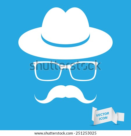 white hat with mustache and glasses isolated on a blue background - stock vector