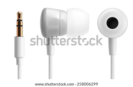 White headphones close up isolated on white. Vector illustration - stock vector