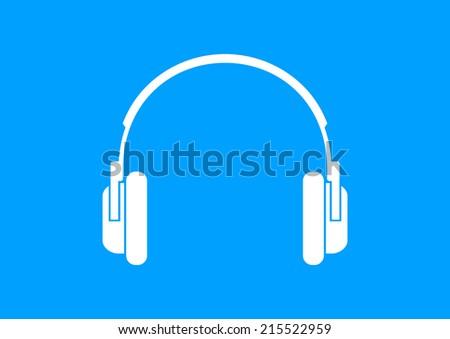 White headphones icon on blue background - stock vector