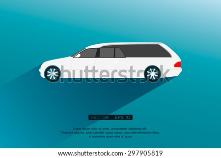 White Hearse and Long shadow. Vector illustration