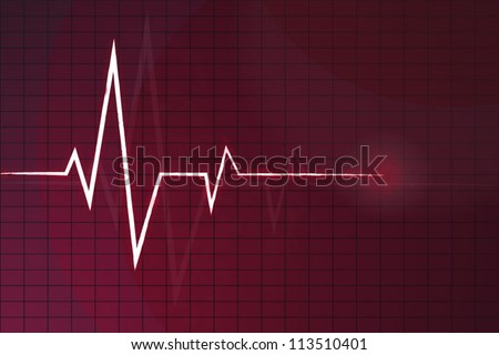 White Heart Beats Cardiogram on Red background - stock vector