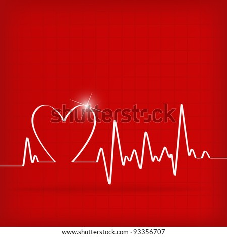 White Heart Beats Cardiogram on Red background - vector illustration - stock vector