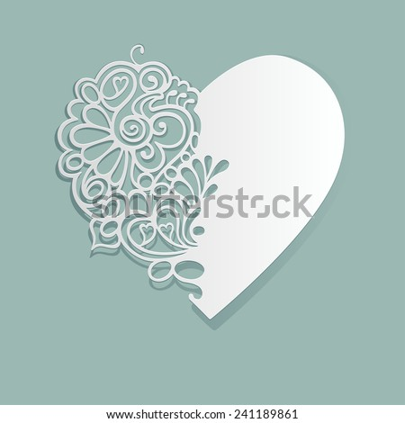 White heart made of paper. EPS 10. - stock vector