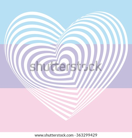 white heart on light pink aqua sky blue lilac purple background. Optical illusion of 3D three-dimensional volume. Vector - stock vector