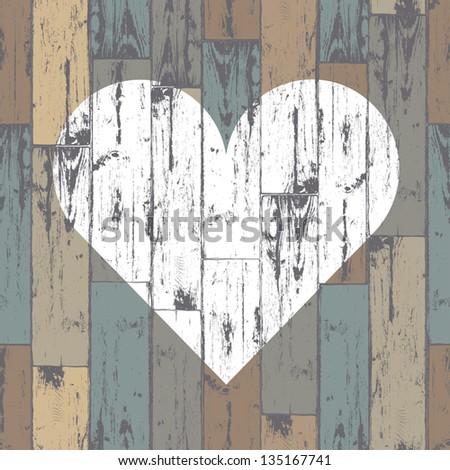 White heart on wooden background. Vector, EPS10 - stock vector