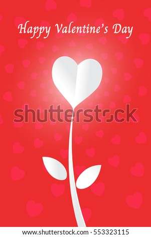 White heart paper cut flower and happy valentine's day on red background