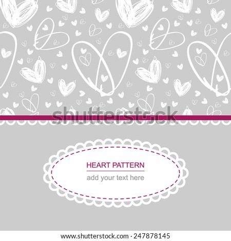 white heart pattern on grey background with white label and text on it - stock vector
