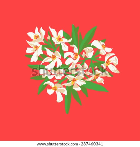 White heart-shaped floral pattern, red background, vector - stock vector