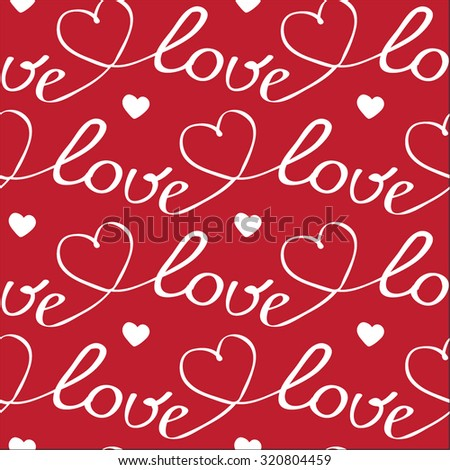 White hearts and letters seamless pattern on red background - stock vector