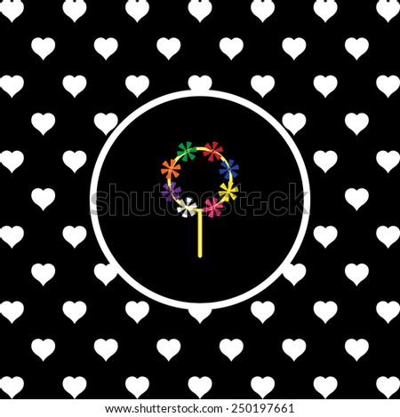 White hearts on a black background, white circle. Children's toy wind mill, turntables, pinwheel wind vane, vector illustration, EPS 10 - stock vector