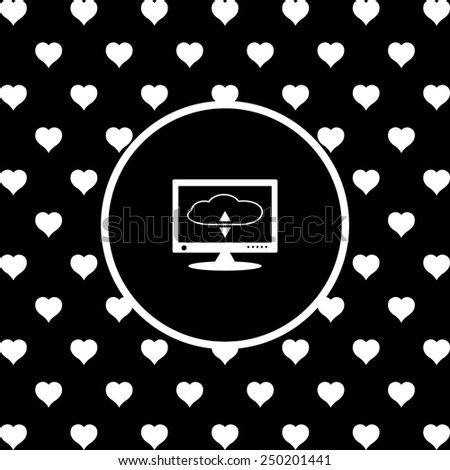 White hearts on a black background, white circle. cloud storage on the computer, vector illustration, EPS 10 - stock vector