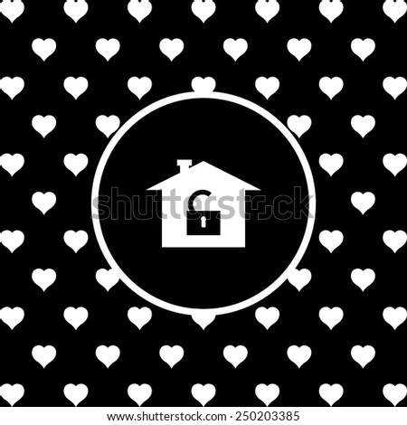 White hearts on a black background, white circle. House, access is open, unlocked,  vector illustration, EPS 10 - stock vector