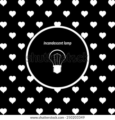 White hearts on a black background, white circle. incandescent bulb, vector illustration, EPS 10 - stock vector