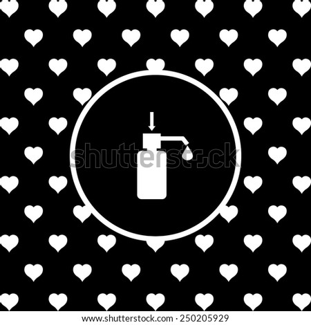 White hearts on a black background, white circle. Shower Gel, Liquid Soap, Lotion, Cream, Shampoo, Bath Foam. , vector illustration, EPS 10 - stock vector
