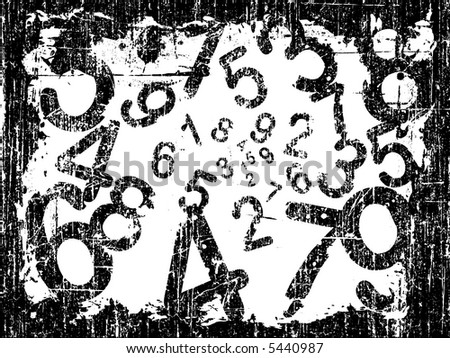 white Heavy Grunge Illustration with Acid Etched Numbers (Layered Vector) - stock vector