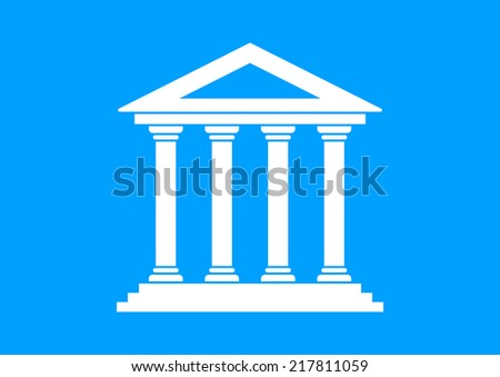 White historical building on blue background