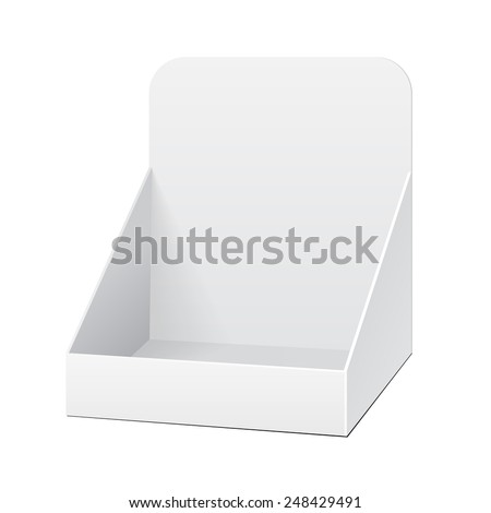 White Holder Box POS POI Cardboard Blank Empty Displays Products On White Background Isolated. Ready For Your Design. Product Packing. Vector EPS10  - stock vector