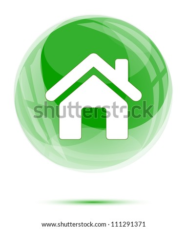 White home icon in the green glass sphere - stock vector