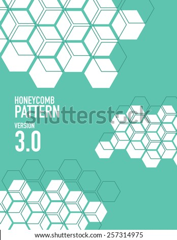 White honey comb pattern over green background - stock vector