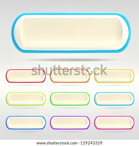 White horizontal oriented banner buttons with colorful glossy edging, eps10 vector scalable design elements