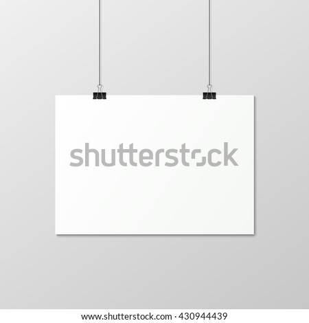 White horizontal poster A4 on a rope. - stock vector