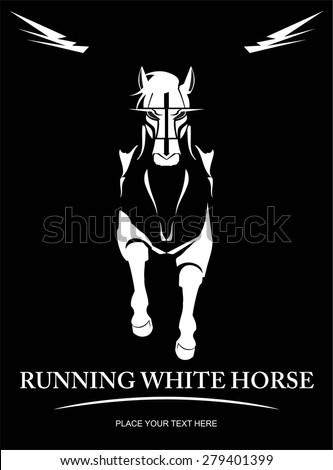 White Horse. elegant running horse. Front view of running horse. suitable for team identity, sport club logo or mascot, insignia, embellishment, equestrian club, sign, illustration for apparel, etc. - stock vector