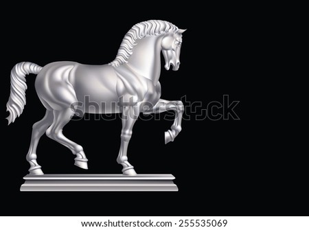 White horse on a black background - stock vector