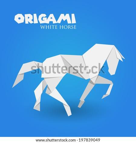 white horse origami - stock vector