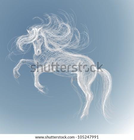 White horse / Vector sketch of fairy unicorn - stock vector