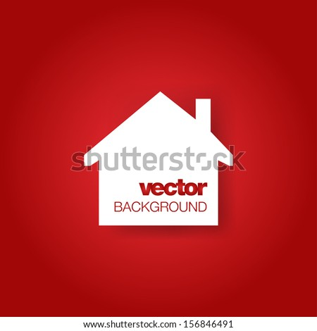 White house on red background. Vector illustration with place for text. Icon. - stock vector
